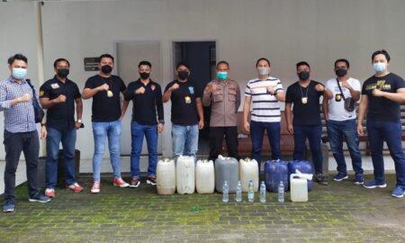 Operasi Pekat Samrat 2021, Polres Tomohon Mengamankan Ratusan Liter Miras Jenis Cap Tikus Tanpa Ijin